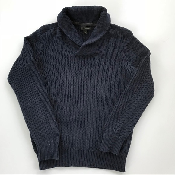 new BANANA REPUBLIC basketweave shawl collar sweater s m l navy
